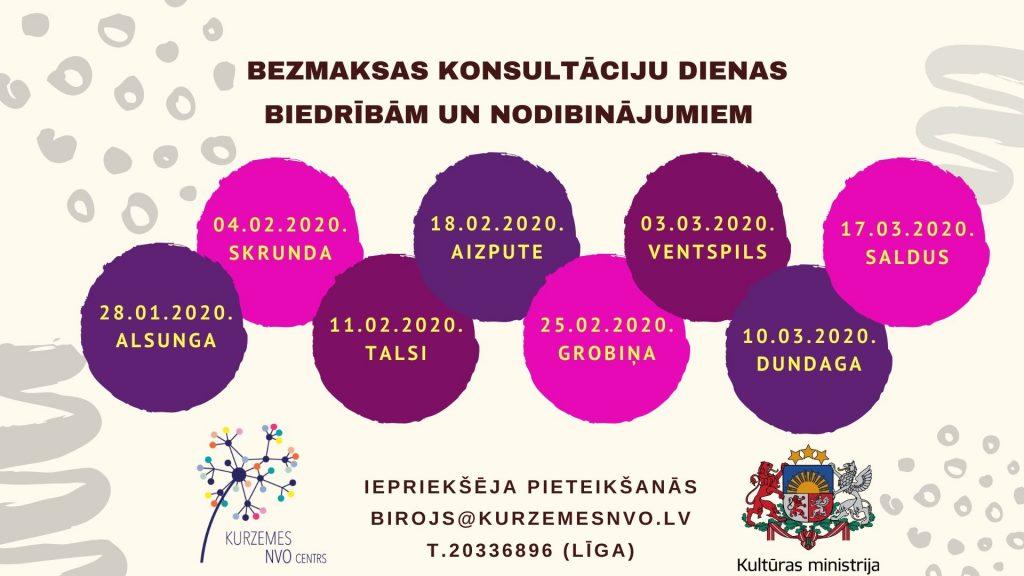"""Konsultāciju dienas biedrība 2020 """"Kurzemes NVO atbalsta centrs"""" organizē, īstenojot valsts pārvaldes uzdevumu pilsoniskās sabiedrības attīstības un starpkultūru dialoga jomā."""